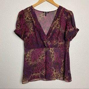 Daisy Fuentes Sheer Purple Blouse w Button Sleeves